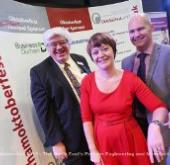 Councillor Neil Foster with Pamela Petty from Ebac & Darren Race
